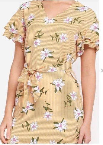 Zalora Yellow Ruffle Tunic Dress