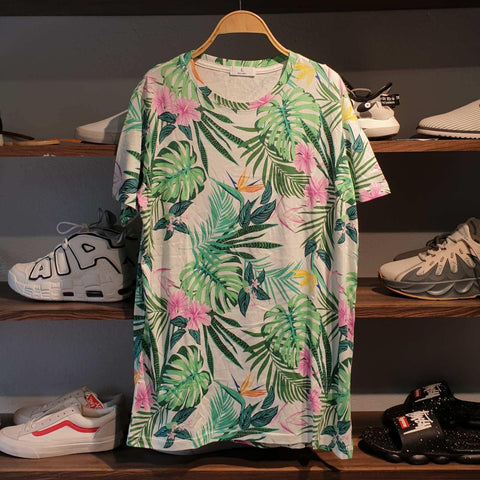 Floral Green Leaves Pattern Summer T-Shirt For Men