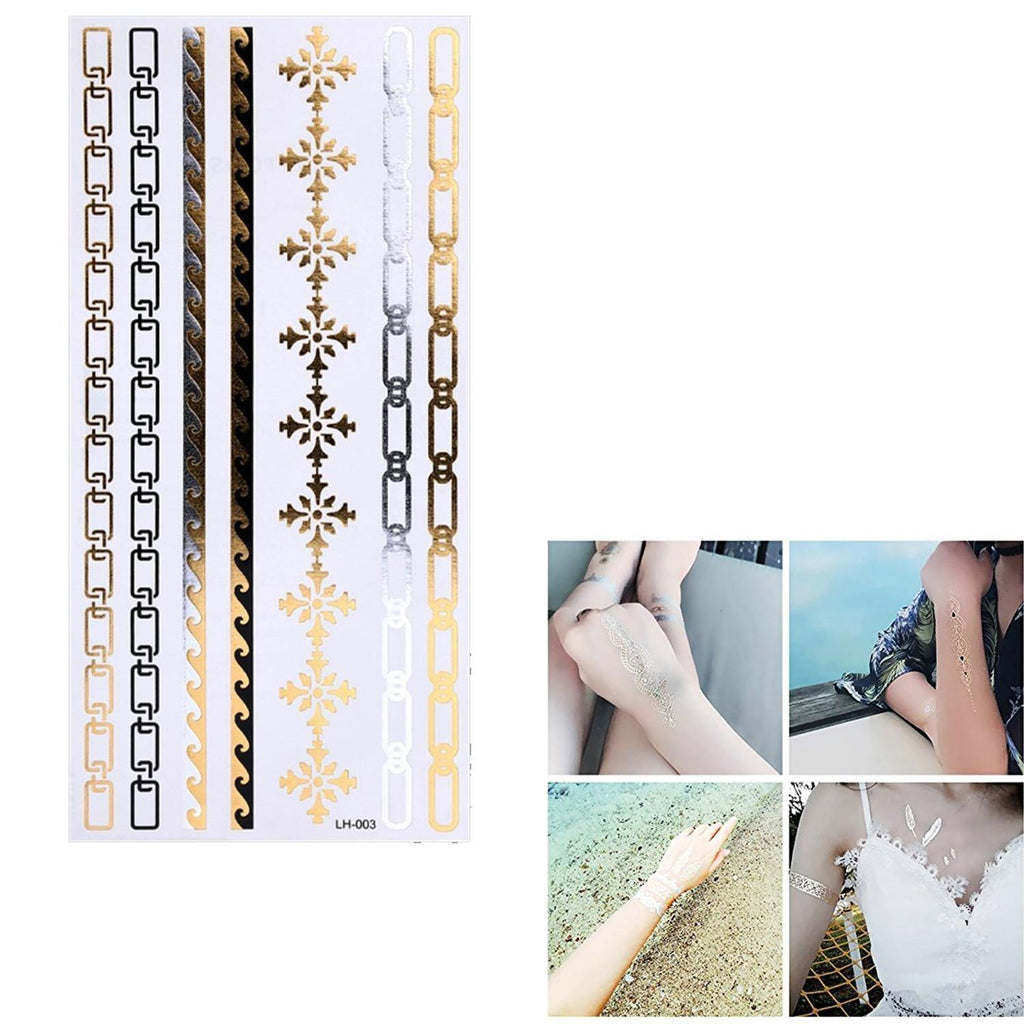 Gold And Silver Chain Style Flash Temporary Jewelry Tattoo For Girls price in Nepal