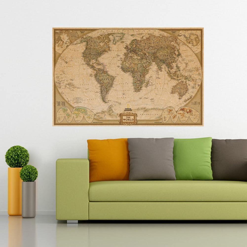 Kraft Paper National Geographic World Executive Wall Map Wall Decal