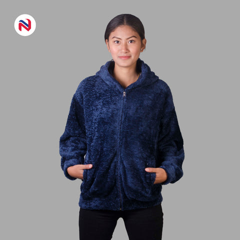 Nyptra Blue Solid Fur Pullover Hoodie Jacket For Women price in nepal