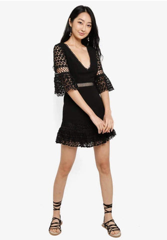 Trumpet Sleeves Mini Dress