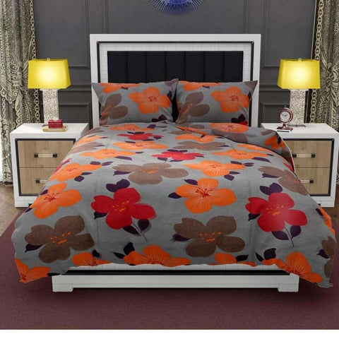 Floral Printed Bed Sheet With 2 Pillow Covers