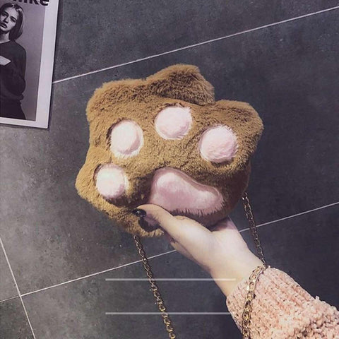Trendy Cute Cat Bear Paw Plush Claw Lovely Messenger Soft Shoulder Bag