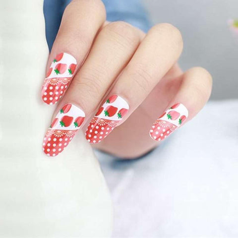 White Dot Rose Strawberry Cartoon Design Nail Art Sticker Self Adhesive price in Nepal