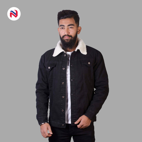 Nyptra Black Solid Fur Denim Jacket For Men price in nepal