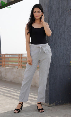 Linen Slub Silk Women Pant #Grey price in nepal
