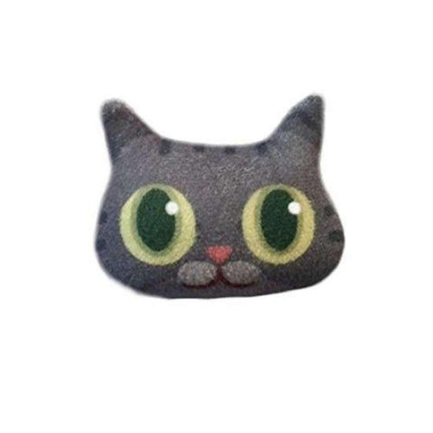 3D Handmade Lovely Gray Cat Emoji Brooch