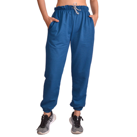 Petrol Blue Solid Joggers For Women price in nepal