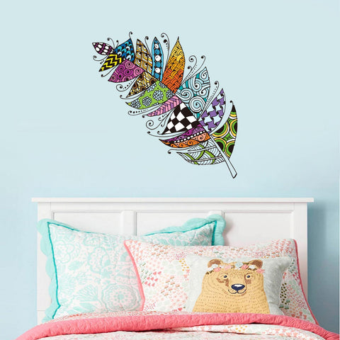Creative Colorful Feather Tv Sofa Wall Decoration Stickers