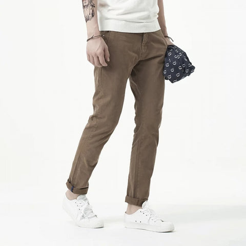 Green Twill Jeans Chinos For Men