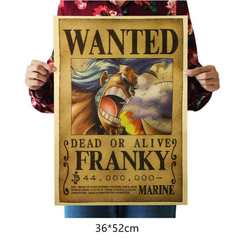 One Piece Wanted Franky Wall Decal Home Decor Poster