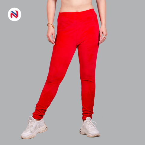 Nyptra Red Plain Velvet Fleece High Rise Fancy Leggings For Women price in nepal