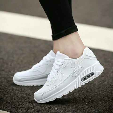 Luxurious White Color Lace Up Women Breathable Mesh Running Shoes Sneakers (Smile) price in nepal