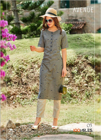 FuLoo's Avenue Pure Cotton Pattern Designer Embroidered Kurti for Women (ONLY KURTI) #03price in nepal