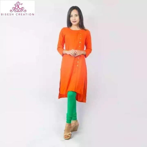 Bisesh Creation Orange Slub Rayon Side Buttoned Kurti With Cotton Leggings - BC 911