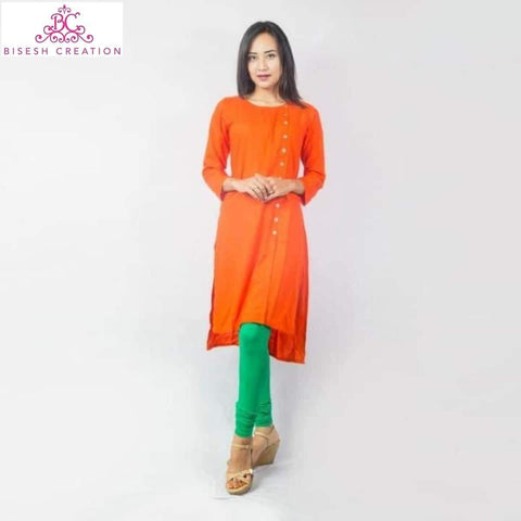 Bisesh Creation Orange Slub Rayon Side Buttoned Kurti With Cotton Leggings - BC 911 price in nepal
