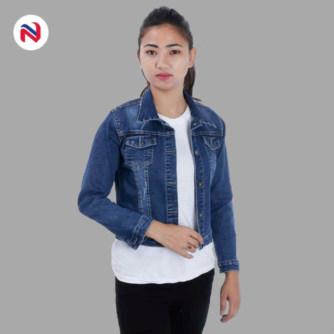 Nyptra Dark Blue Crop Denim Jacket For Women price in nepal