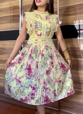 Yellow Pleated Summer Dress