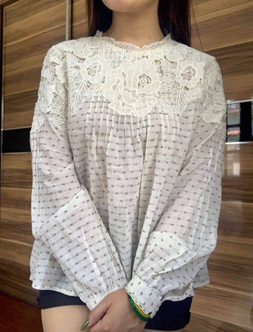 Off white Lace Dotted Tops