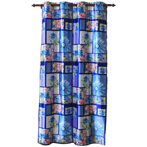 Digital Floral Printed Cotton Fabric Window/Door Curtain - (Red/Blue)