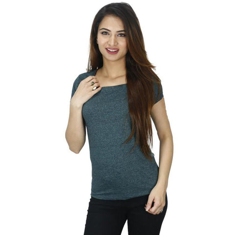 Green Maroon Lined Cotton T-Shirt For Women price in nepal