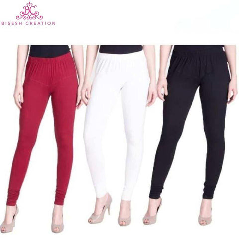 Sheetal Pack Of 3 Solid Churidar Leggings For Women- Maroon/White/Black