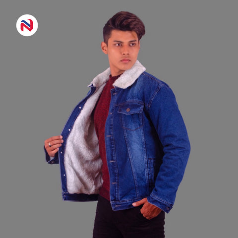 Nyptra Dark Blue Solid Fur Denim Jacket For Men