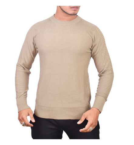 SA LANA Knit Khaki Men's Round Neck Sweater