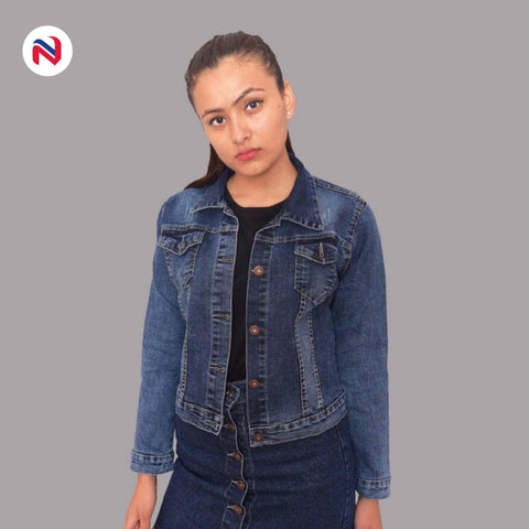 Nyptra Blue Crop Denim Jacket For Women price in nepal