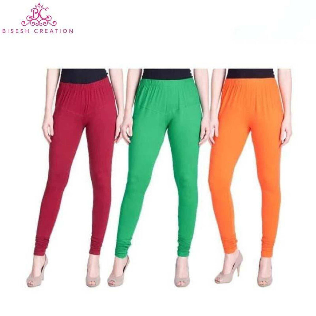 Sheetal Pack Of 3 Solid Churidar Leggings For Women- Maroon/Green/Orange