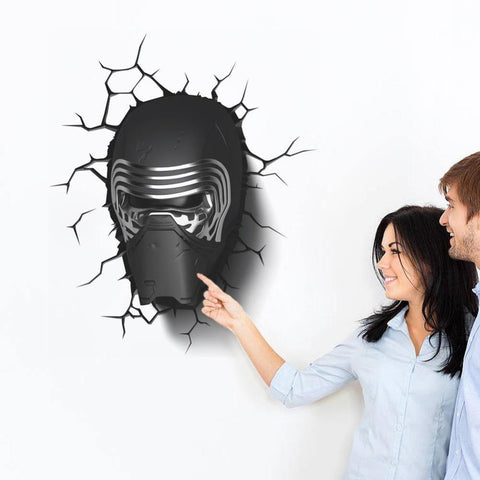 3D Star War Awakens Dark Knight Helmet Handsome Cartoon Wall Stickers