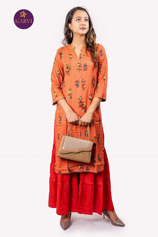 KARVI Peach Floral Printed Kurti for Women