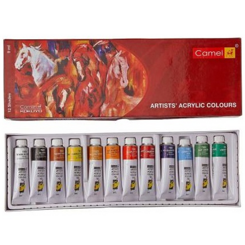 Camlin Artist Acrylic Color Set of 9 ML Tube in 12 Shades (Set of 12, Multicolor)price in Nepal