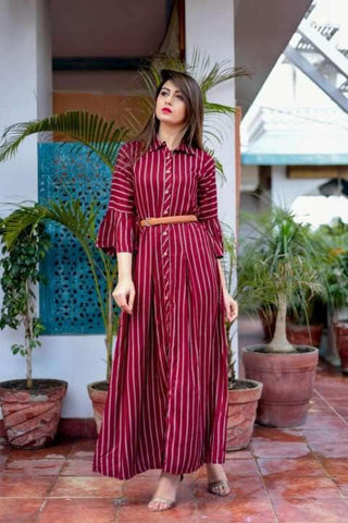 Maroon Designer Pure Heavy Rayon Discharge Print With Leather Belt Kurti For Women