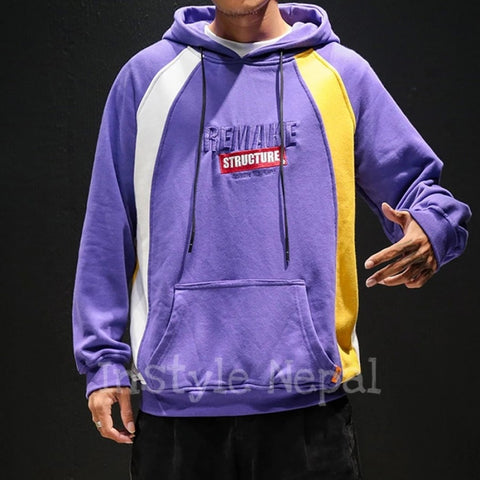 Purple Yellow Patch Work Hoodie