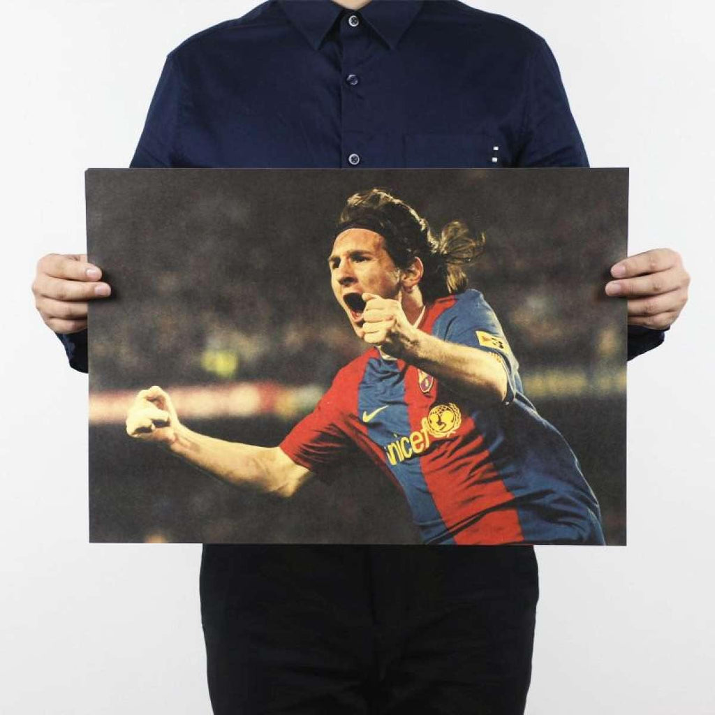 Football Star Lionel Messi Design Vintage Kraft Paper Wall Decal price in Nepal