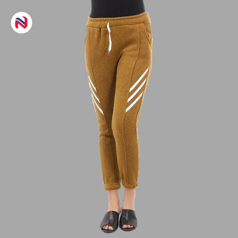 Nyptra Brown Plain/Side Stripes Inner Fleece Joggers For Women price in nepal