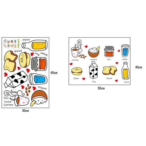 Creative Removable Cartoon Food Milk Bread Cake Wall Stickers