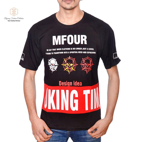 Summer Fashion Oversize Cotton Men T-Shirt Korean Casual O Neck T-Shirt Patchwork Letter Print Loose Japanese T-Shirt By Bajrang