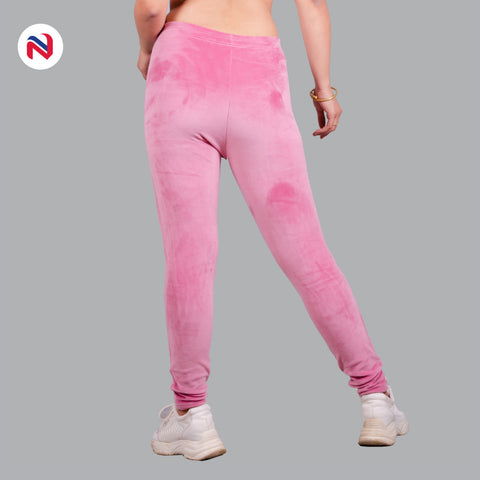 Nyptra Peach Plain Velvet Fleece High Rise Fancy Leggings For Women