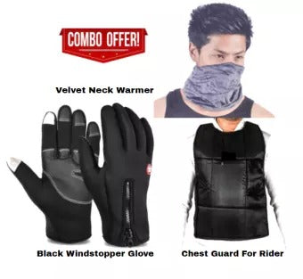 Combo Offer Of Wind Stopper Glove, Neck Warmer And Chest Guard For Men Bike Riders In Winter By Ramesh Impex