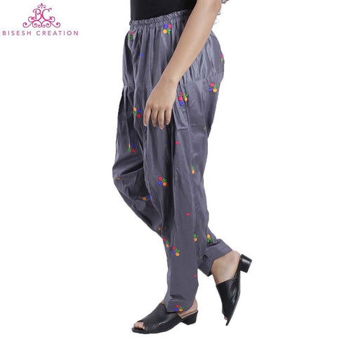 Grey Chikan Panjabi Shalwar For Women