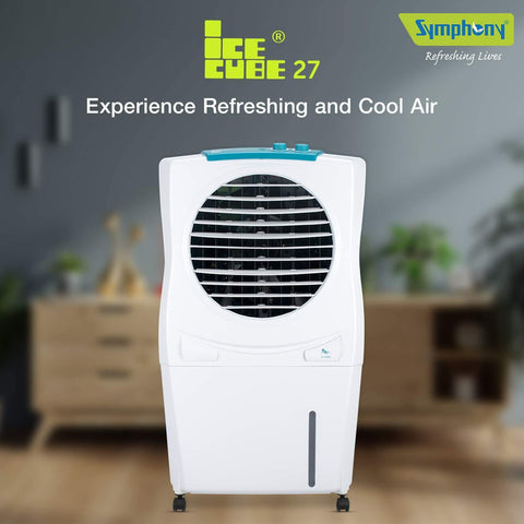 Symphony Ice Cube 27 Personal Room Air Cooler 27-litres with Powerful Fan, 3-Side Honeycomb Pads, Multistage Air Purification & Low Power Consumption (White)