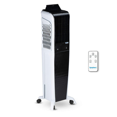 Symphony Diet 3D 55i+ Tower Air Cooler 55-litres with Magnetic Remote, 3-Side Cooling Pads, Auto Pop-up Touchscreen, Multistage Air Purification, & Low Power Consumption (Black & White) price in Nepal