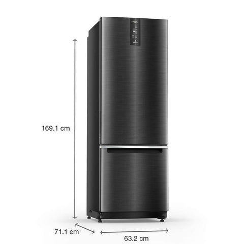 Whirlpool 325 L 2 Star Inverter Frost-Free Double Door Refrigerator (IFPRO BM INV 340 ELT+ STEEL ONYX (2S)-N, Black)