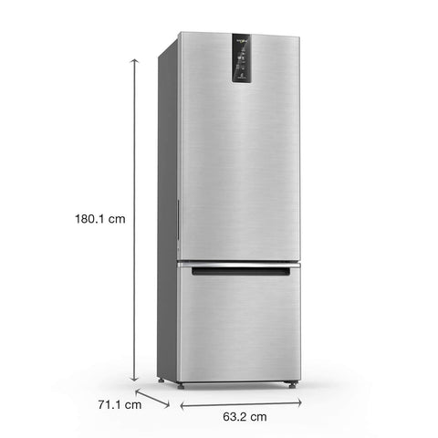 Whirlpool 355 L 3 Star Frost Free Double Door Refrigerator (IF PRO BM INV 370 ELT+, Omega Steel, Bottom Freezer)
