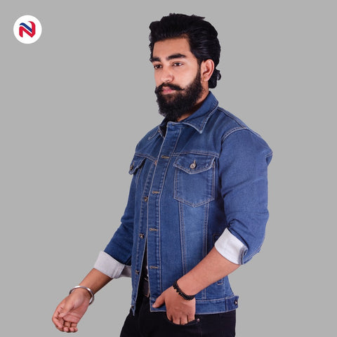 Nyptra Dark Blue Solid Stretchable Denim Jacket For Men  price in nepal