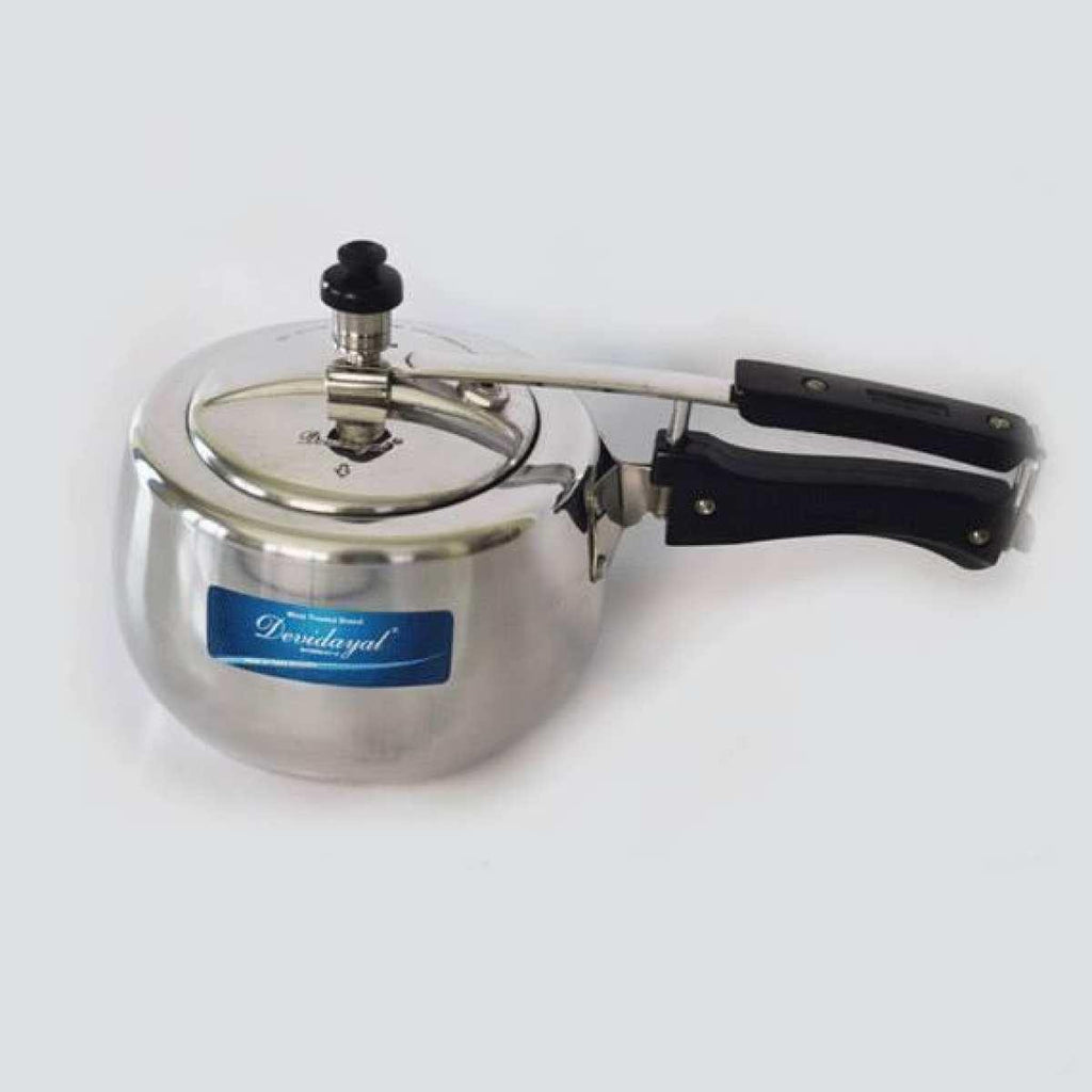 DeviDayal l Contura Heavy Base Pressure Cooker (White) - 5L