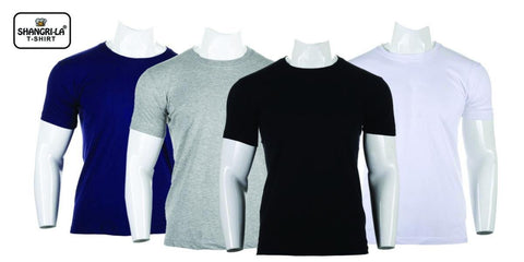 Shangrila 100% Cotton Pack Of 4 T-Shirt For Men (Black/Blue/Grey/White)